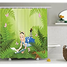 Ambesonne Alice in Wonderland Decorations Collection, Wonderland Alice Reading Book Forest Butterfly Nature Magic Love, Polyester Fabric Bathroom Shower Curtain Set with Hooks, Green Pink Blue