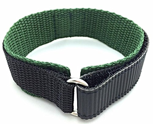 20mm Watch Band | Long, Adjustable-Length, Dark Green/Black, Nylon Watch Band | Heavy Duty, Hook and Loop, Sport Replacement Wrist Strap for Men and Women
