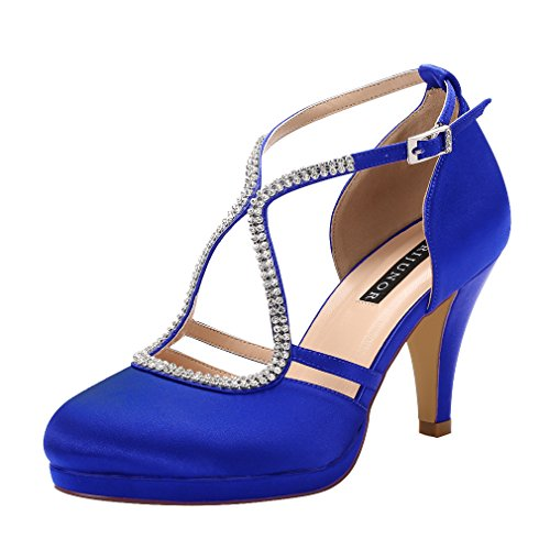 ERIJUNOR E0260D Women Comfort Low Heel Closed-Toe Ankle Strap Platform Satin Bridal Wedding Shoes Blue Size 6