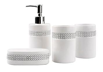 Justnile 4 Piece Bathroom Accessory Set Elegant Ceramic White With Crystal Stripe