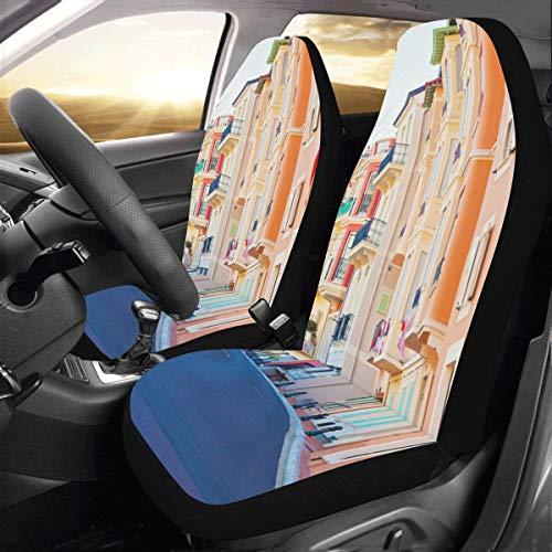 European Street Town Landscape Custom New Universal Fit Auto Drive Car Seat Covers Protector for Women Automobile Jeep Truck SUV Vehicle Full Set Accessories for Adult Baby (Set of 2 Front) ()
