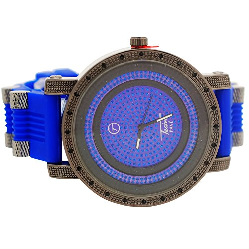 Techno Pave Mens Iced Out Lab Created Hip Hop 360 Sports Watch Black and Blue with Bullet Band