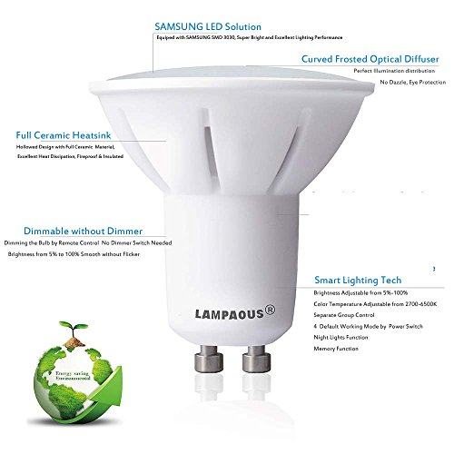 LAMPAOUS GU10 LED Light Bulbs Dimmable Smart Bulb,2700k to 6500k White and Color Ambiance Spotlight,50W Halogen Bulb Equivalent,Work with LAMPAOUS Wireless Remote,No Dimmer Required,10 Bulbs Pack by LAMPAOUS (Image #2)