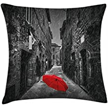 TINA-R Black and White Throw Pillow Cushion Cover, Red Umbrella on a Dark Narrow Street in Tuscany Italy Rainy Winter, Decorative Square Pillow Case, 18 X 18 Inches, Grey Vermilion