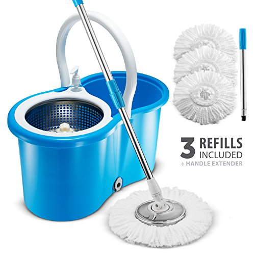 Premium All In One Stainless Steel 360 Spin Mop   Bucket System   Self Wringing Mop With 3 Microfiber Mop Heads   Extended Length Adjustable Mop Pole With Stainless Steel Mop Plate