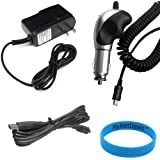 Chargers Bundle for Garmin GPS Nuvi 3590LMT - Heavy Duty Car Charger (with 8 ft thick cord) + Home Travel AC Charger + USB charging cable + White Stylus Pen
