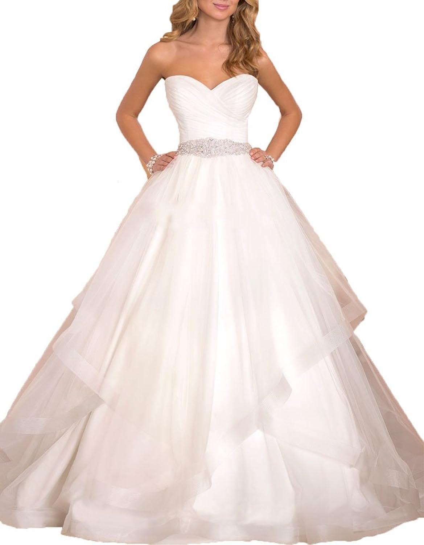 AnKang Women\'s Elegant Sweetheart Waist Beaded Ball Gown Wedding Dresses For Bride