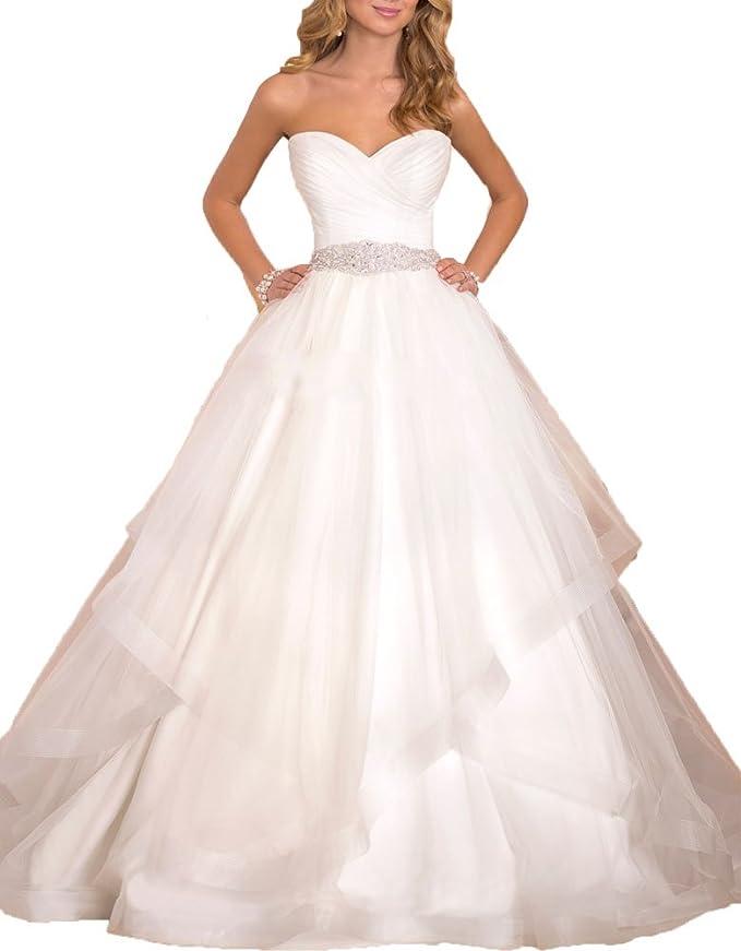 AnKang Women\'s Elegant Sweetheart Waist Beaded Ball Gown Wedding ...