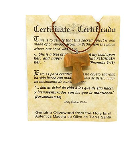 Olive Wood Pendant - Christian Tau Tao Cross Franciscan Design HJW from HolyRoses