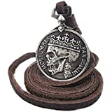 Fashion Mens charm Vintage Silver Skull pendant Genuine Alloy leather necklace#by pimchanok shop