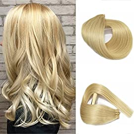 Hair Extensions #12 Golden Brown Human Hair Tape in Extensions 30grams 20pcs Silky Straight Seamless Skin Weft Remy Hairpieces for Women, 16 Inch