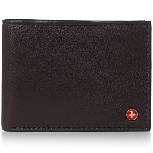 Alpine Swiss Mens Leather Flipout ID Wallet Bifold Trifold Hybrid (One Size, Dark Brown)