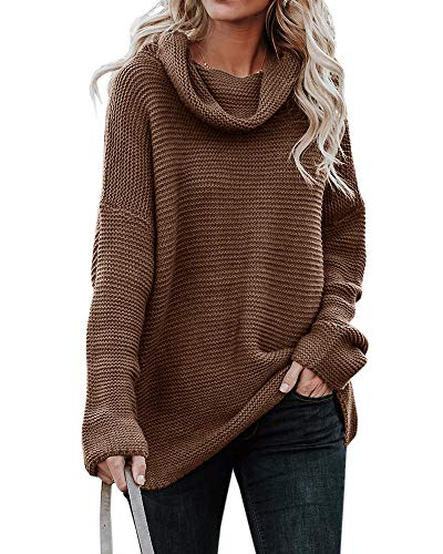 Sherrylily Womens Loose Fit Turtleneck Long Sleeve Pullover Sweaters Casual Oversized Solid Color Jumpers (Large, Brown) ()