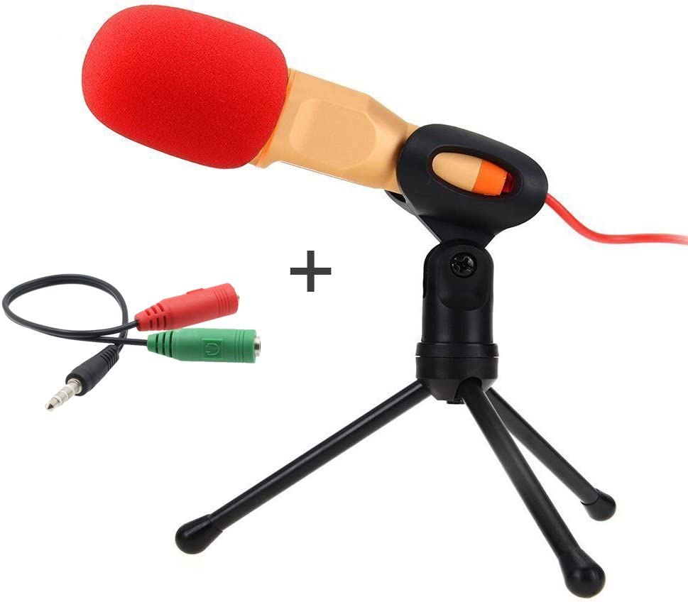 Computer Microphone,Condenser Microphone,Podcast Microphone,Desktop Microphone,Studio Microphone with Stand 3.5mm Plug & Play for Online Chatting, Recording,Gaming