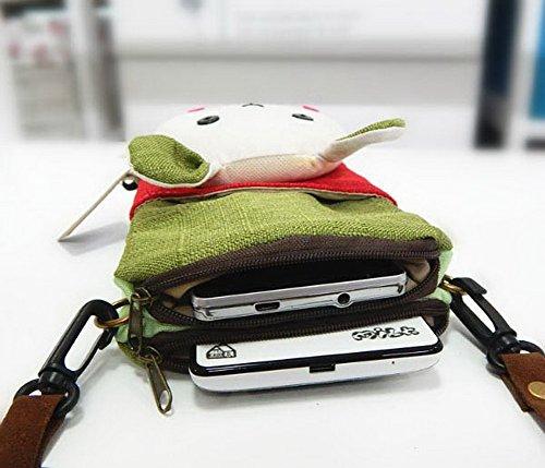 Karikatur-Segeltuch-Telefon-Paket-koreanische Version Mini-Beutel-Grün-Patchwork-Kaninchen-Kopf