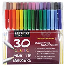 Sargent Art 22-1592 30 Count Classic Markers, Fine Conical Tip, Plastic Peggable Pouch, Assorted