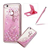 Liquid Clear Case for Huawei P8 Lite 2017,Glitter TPU Cover for Huawei P8 Lite 2017,Herzzer Luxury [Butterfly Princess Pattern] Soft Flexible with Electroplated Frame Flowing Sparkle Love Heart Star Crystal Back Case
