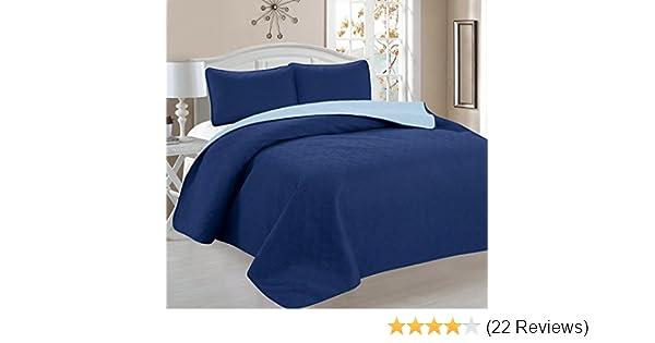 Full//Queen Size Elaine Karen Deluxe Greek Design Reversible 3pc Coverlet Quilt Set Bedspread Blue//Light Blue