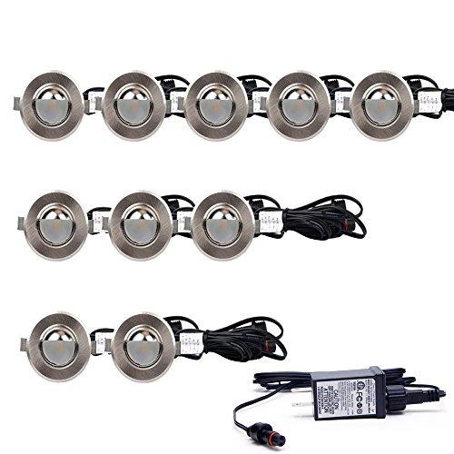 - EDOBLUE LED Deck Light Kit Half-Moon Shape Landscape Lighting for Outdoor Ground Stair Patio Garden Floor Corner Sauna Room Bathroom Waterproof IP67 DV12V (0.5W, 10PCS)