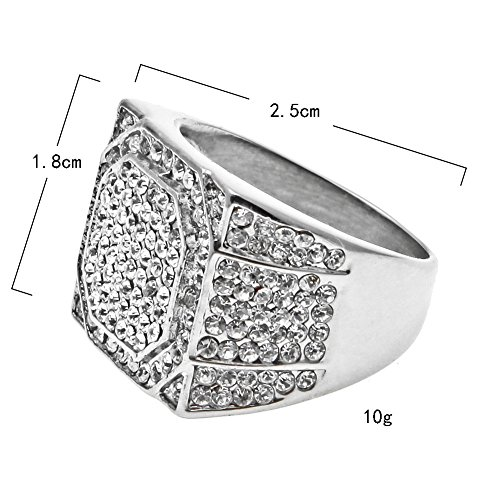Uscharm Square Stainless Steel Mens Ring Rhinestone Crystal Silver Rings for Him Engagement Rimngs Wedding Bands by Uscharm (Image #1)