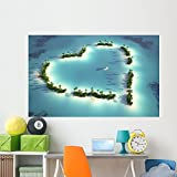 Wallmonkeys WM243140 Aerial View of Heart-Shaped Island Wall Decal Peel and Stick Graphic (72 in W x 45 in H)