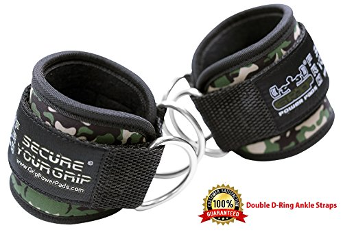 - Grip Power Pads Best Ankle Straps for Cable Machines Double D-Ring Adjustable Neoprene Premium Cuffs to Enhance Legs, Abs & Glutes for Men & Women (Green Camo, Singe)