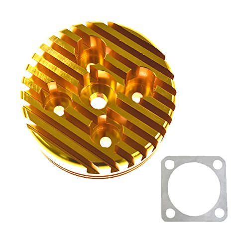 JRL Yellow CNC Cylinder Head for Racing 66cc/80cc Engine Gas Motorized Bicycle Custom Aluminum ()