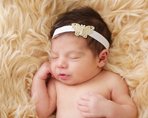 Amazon.com  Gold Headband-Butterfly Headband-Soft Headband-Elastic Headband-Swarovski  Headband-Baby Headband-Girls Headband-Delicate and Unique Headband  ... 1e5b2adaecf