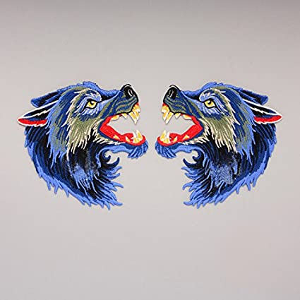 be6dddeb9d214 Amazon.com: Big Blue Wolf Embroidery Patch, Embroidered Wolf Head ...
