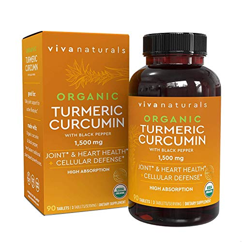 Organic Turmeric Curcumin Supplements with Black Pepper for Better Absorption | 1500mg High Potency Turmeric Pills Organic for Joint Support