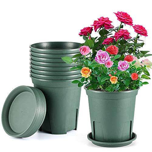 Flower Pots About 2 Gallon Plastic Nursery Pot 8 Pack Planters with