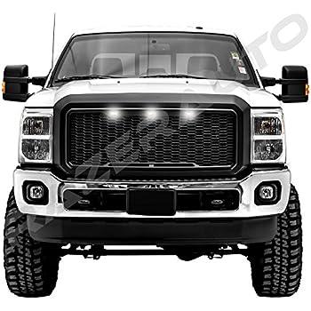 08-10 Ford Super Duty Raptor Gloss Black Front Hood Mesh Grille+Shell+Amber LED
