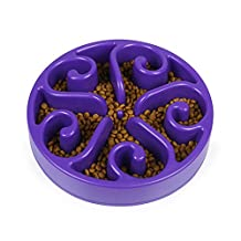 Slow Feed Dog Bowl 8 inch, V-mix Anti-Bloating Interactive Fun Feeder Slow Bowl Design Puzzle Non-Skid Maze. (purple)