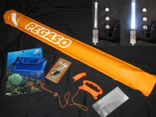 PEGASO by koenig-tom : Signal Tauchset mit Boje + BLITZER + Pfeife + Leinen + Gewicht + Tasche