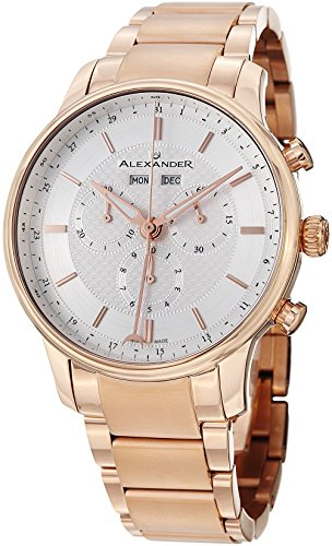 Alexander Statesman Chieftain Men's Multi-function Chronograph Silver Dial Rose Gold Plated Swiss Made Watch...