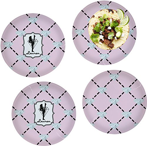 Diamond Dancers Set of 4 Lunch / Dinner Plates (Glass) (Personalized) by RNK Shops