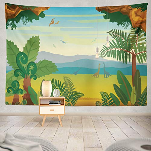 KJONG Mountains-Landscape Decorative Tapestry,with Animals and Landscape Silhouette Mountains 60X80 Inches Wall Hanging Tapestry for Bedroom Living Room ()