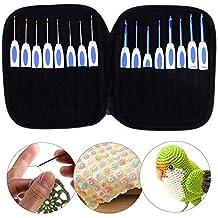 16pcs Porcelain Handle Aluminum Crochet Hooks Knitting Needles Sewing Tool Kit