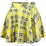 Women's Flared Stretch Soft Tartan Yellow Print Pleated Mini Dress Skater Skirt S