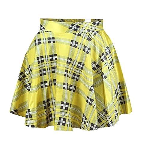 Yellow Plaid Pleated Mini Skirt For Girls (Not For Young Girls) - Pleated Plaid Mini