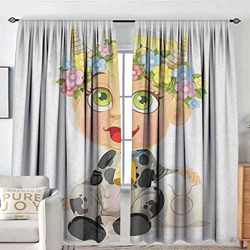 Blackout Curtains Zodiac Taurus,Happy Baby with Little Horns and Flowers Cow Bell and Costume Kids Cartoon, Multicolor,for Bedroom,Nursery,Living Room 54