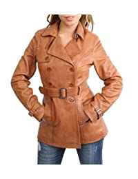 Ladies Double Breasted Mid Length Trench Leather Reefer Coat Sienna Tan