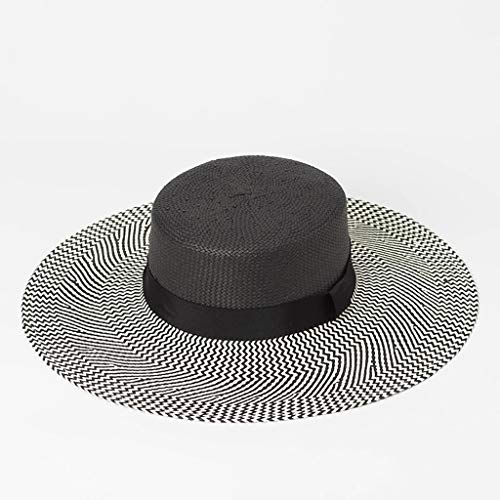 Colorblock Bow - Colorblock Stripe Bow Hat Sun Hat Summer Visor Beach Large Edge Flat Cap (Color : Black)