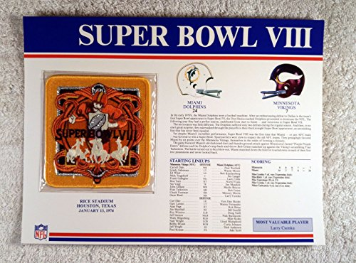 (Super Bowl VIII (1974) - Official NFL Super Bowl Patch with complete Statistics Card - Miami Dolphins vs Minnesota Vikings - Larry Csonka MVP)