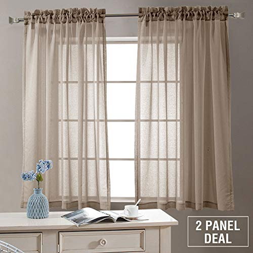 Semi Sheer Curtains for Living Room 63 inch Length Rod Pocket Window Curtain Panels for Bedroom Sheer Voile Curtains, 2 Panels, Taupe-Khaki