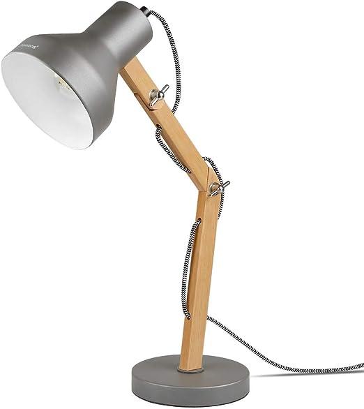 bien vente pas cher volume grand Tomons Lampe de Table en Bois, Lampe de Bureau LED, Lampe de Chevet pour  Enfants, Lampe de Lecture Confortable pour Les Yeux, Ampoule Inclus - Gris