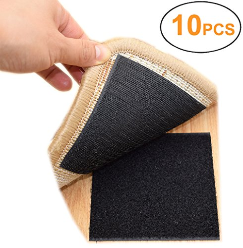 Rug Anchors Carpet Hook and Loop Non-slip Mat Anti-skid Stickers (10PCS , Black)