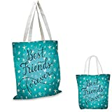 Quote Portable Shopping Bag Best Friends Forever Message on Scribbled and Hatched Stars