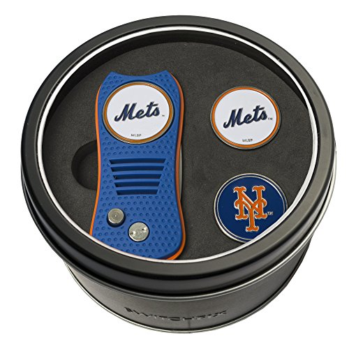 Team Golf MLB New York Mets Gift Set Switchblade Divot Tool with 3 Double-Sided Magnetic Ball Markers, Patented Single Prong Design, Causes Less Damage to Greens, Switchblade Mechanism