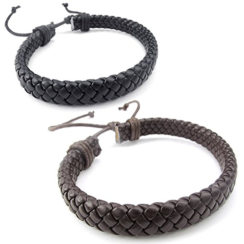 KONOV Mens Womens Leather Bracelet, 2pcs 7-9 inch Adjustable Braided Cuff Bangle, Brown Black